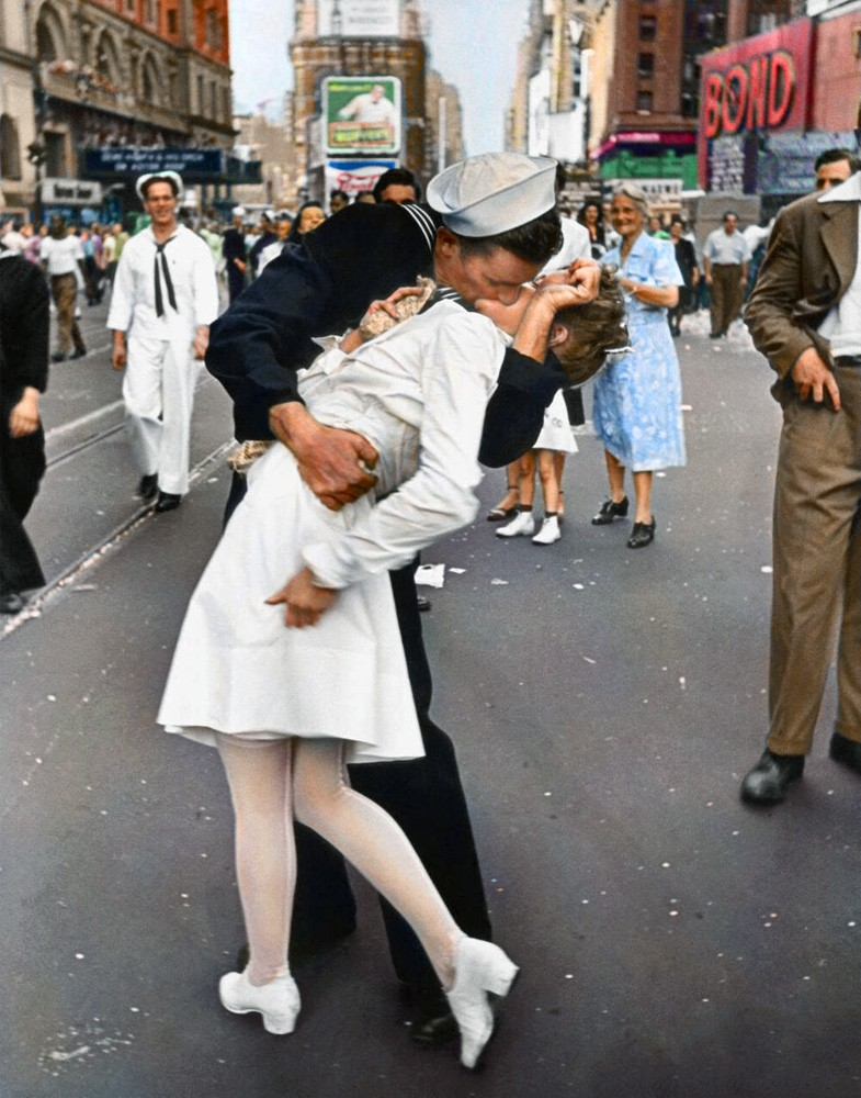 colored v j day in times square kiss photo funny pictures