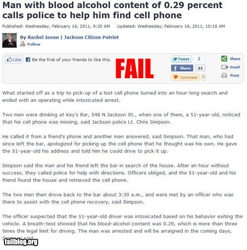epic fail photos - Probably Bad News: Drunk Dialing FAIL