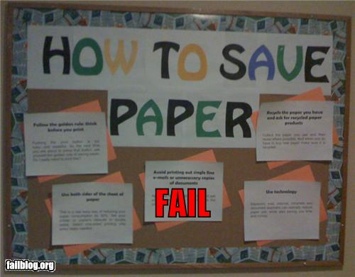 epic fail photos - Saving Paper FAIL