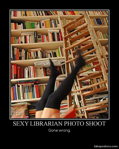 Sexy Librarian Photo Shoot - Demotivational Poster