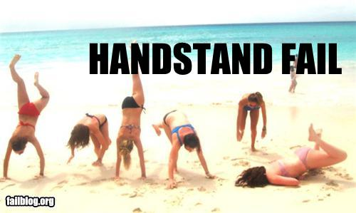 epic fail photos - Handstands on the Beach FAIL