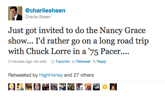 Charlie Sheen's Second Tweet