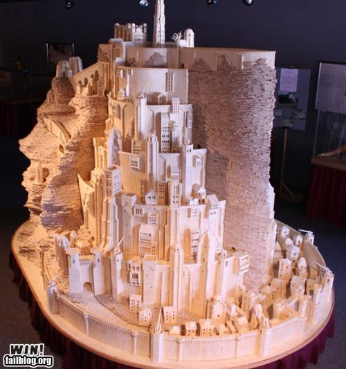 epic fail photos - WIN: Lord of the Rings' Minis Tirith Matchstick Art