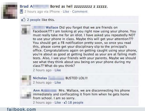 funny facebook fails - Busted in Class
