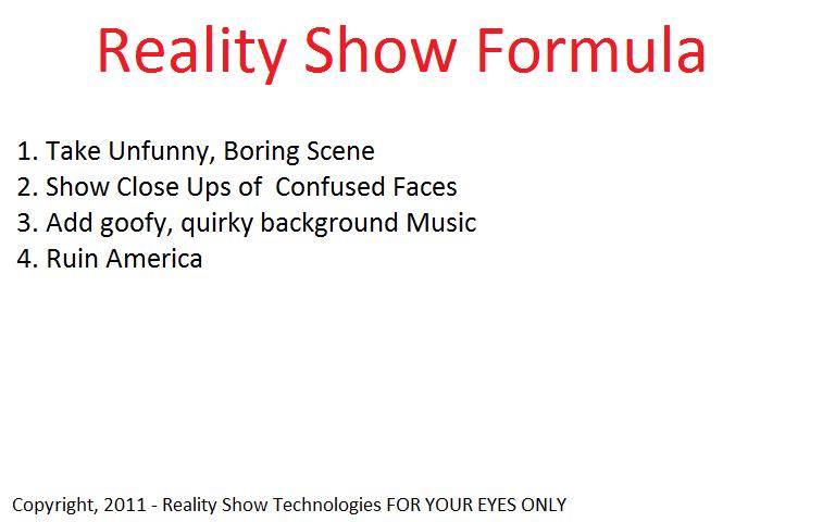 Reality show formula