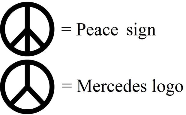 Mercedes emblem peace sign #2