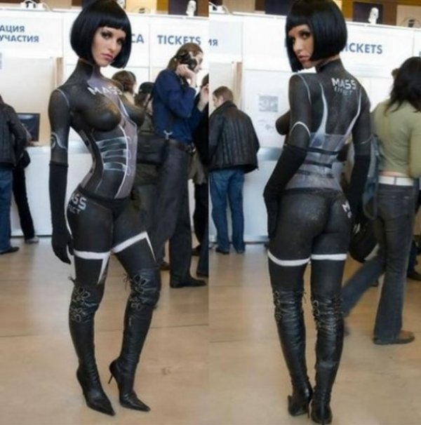 Hot Girl in Mass Effect Bodypaint