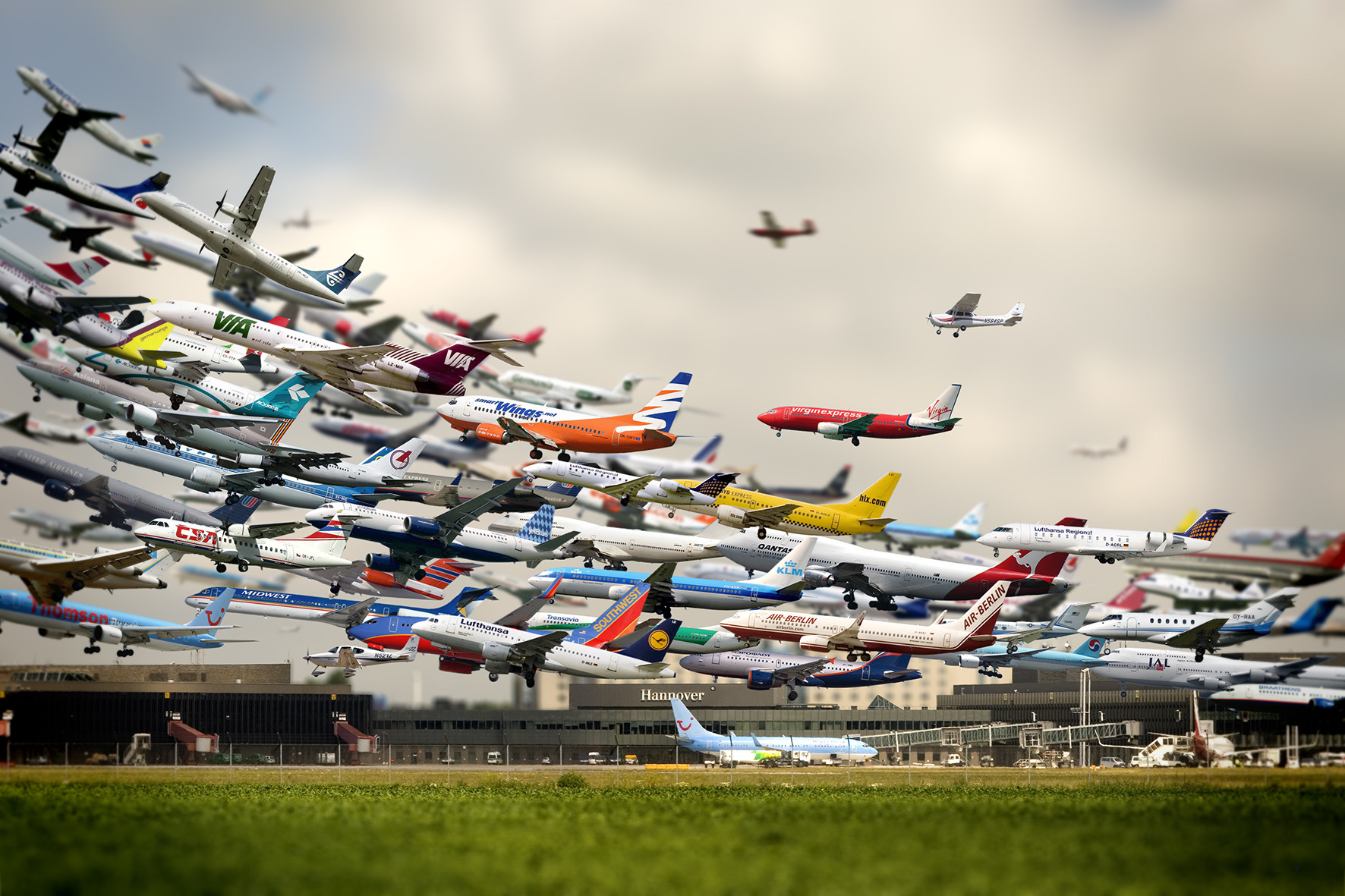 XEmCJ1 composite shot of hundreds of planes taking off at hanover airport,Funny Airport Quotes