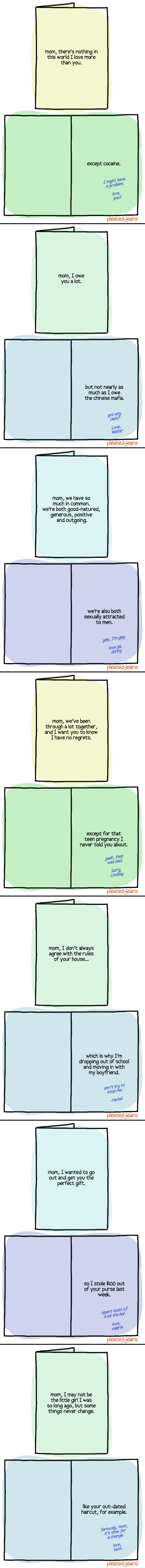 Mother's Day confession cards