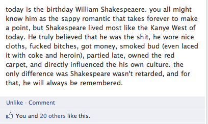 Shakespeares Birthday Facebook Gem Funny Pictures Quotes
