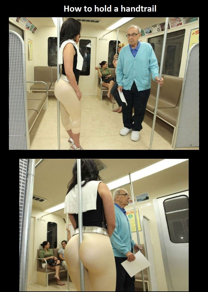 How to hold a handtrail. More crazy people you can meet in train(bus) - www.humorsharing.com/contrast-of-people-in-subway/2308