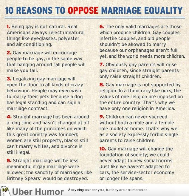 oppose same sex marriage While religion and tradition have led many to their positions on same-sex marriage, it's also possible to oppose same-sex marriage based on reason and experience.