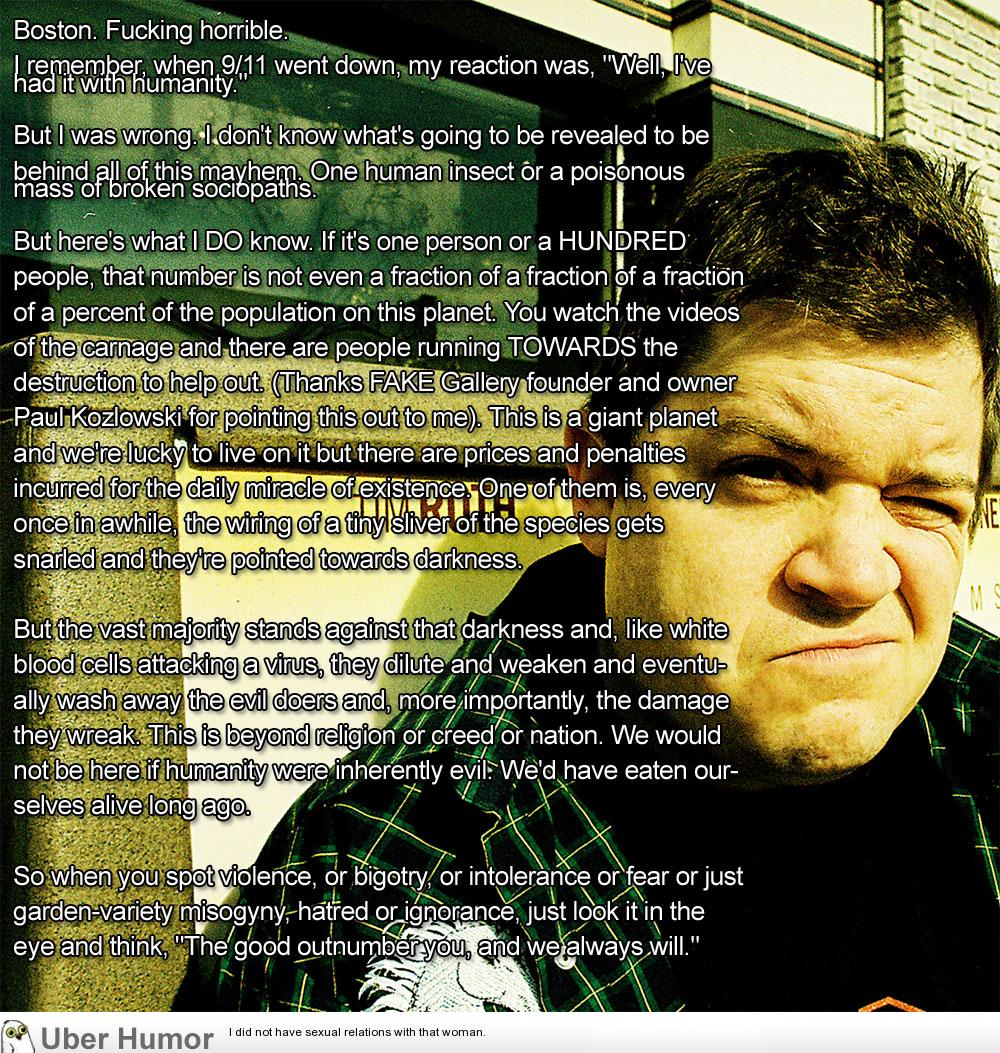 Patton Oswalt On Boston The Vast Majority Stands Against That