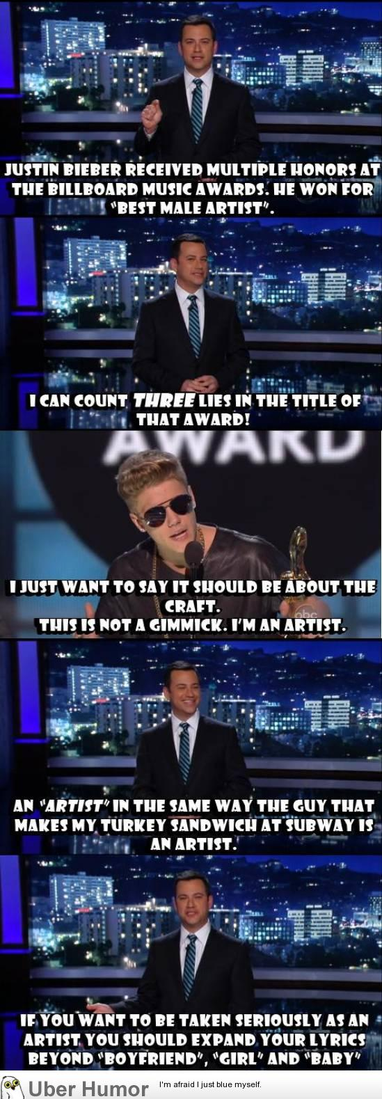 "Jimmy Kimmel on ""Artist"" Justin Bieber being Booed at Billboard Music Awards"