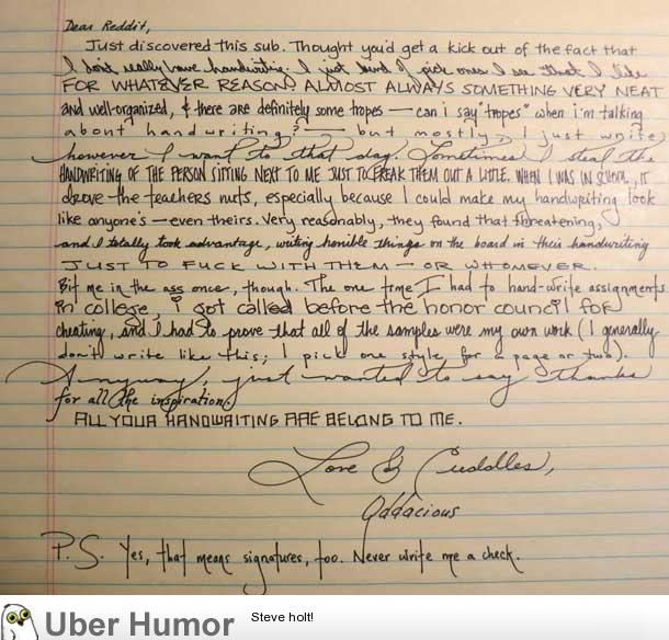 This girl's handwriting is the coolest thing I've seen all ...
