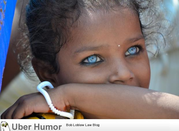 Blue Eyes In A Girl From Vanarasi, India