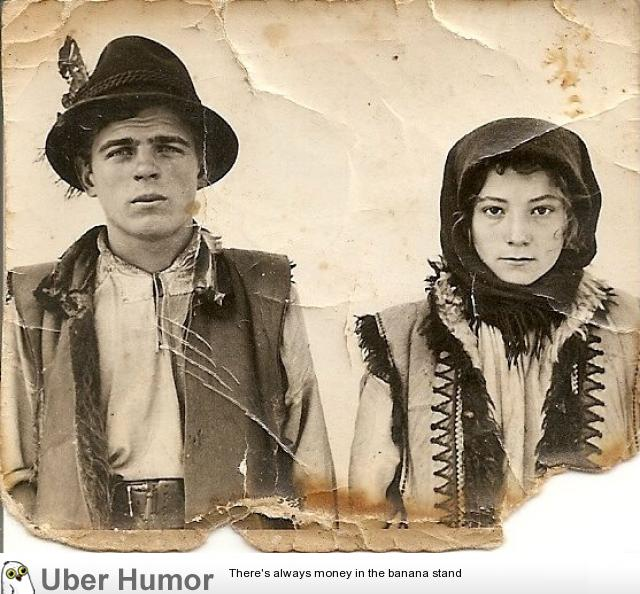 My friend's grandparents live in a rural region of Ukrainian Carpathians. Here's a pic of them back at the time when photos were a wonder.