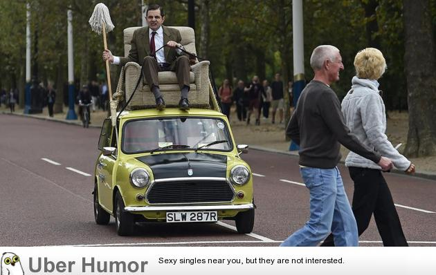 Funny Mr Bean Meme : Mr bean in his armchair on top of his mini driving around london
