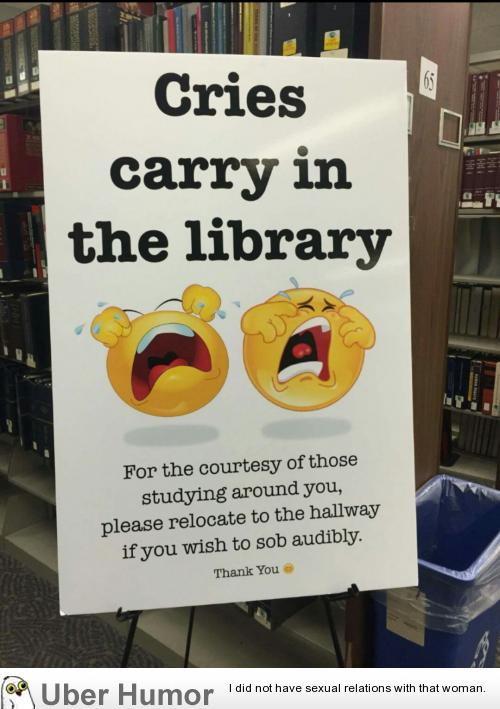 Finals week has just begun, the librarians at my school just ...