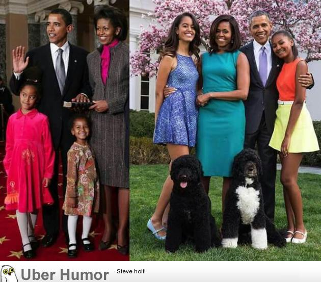 The Obamas, then and now