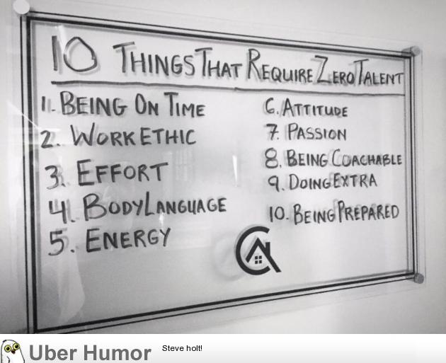 Motivational: 10 Things that require no talent
