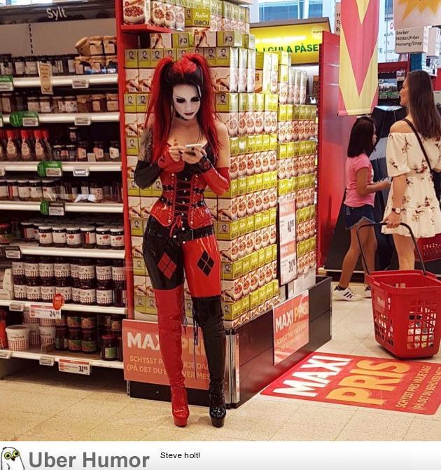 After Harley married Joker, just grocery shopping! | uberHumor.com
