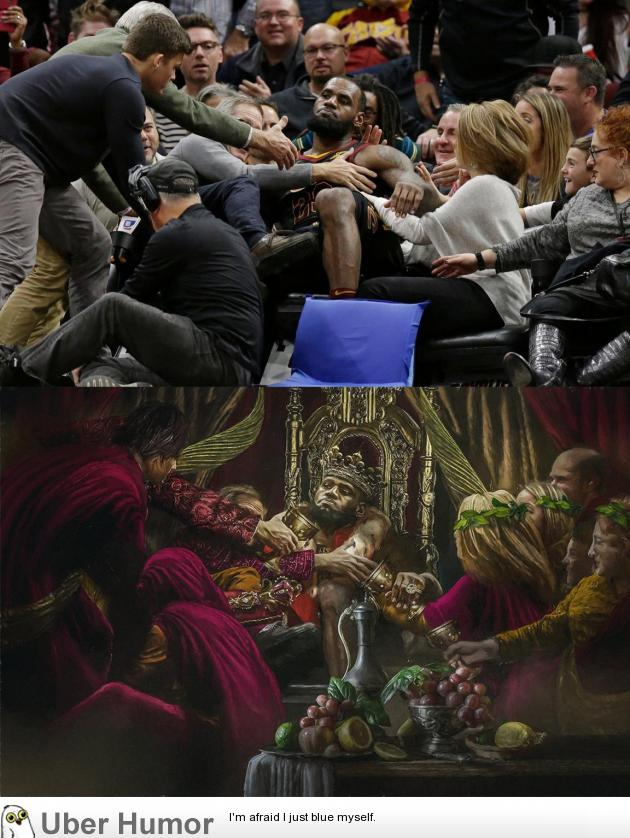King James falling into the seats looked like some sort of renaissance composition | uberHumor.com