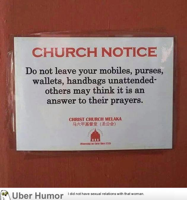 Church notice | Funny Pictures, Quotes, Pics, Photos, Images ...