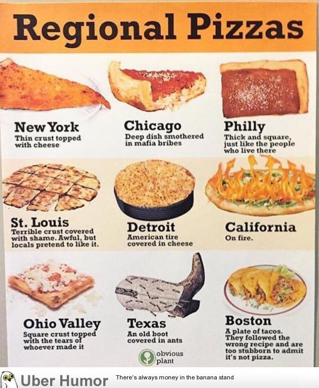 Quick guide to regional pizzas. | Funny Pictures, Quotes ...