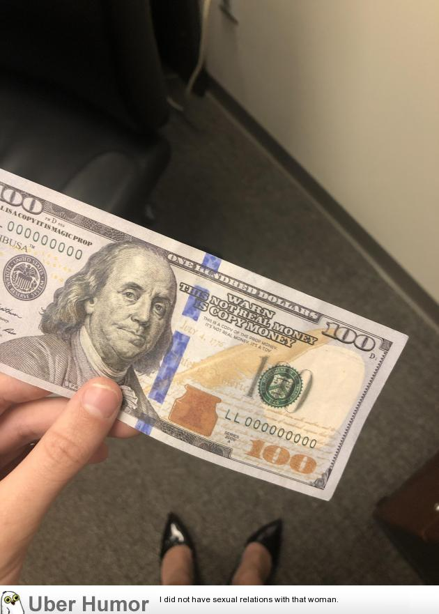 I work as a financial auditor. When reviewing cash deposits, I found that one of our employees accepted this $100 bill.