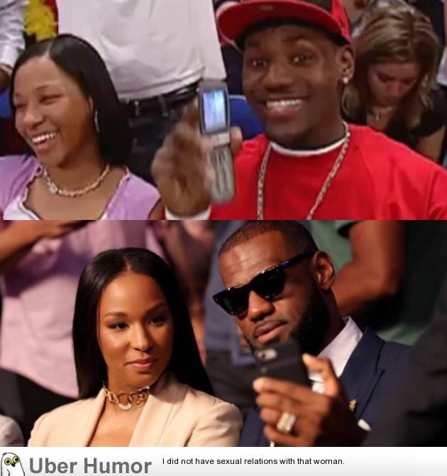 Lebron James and his wife Savannah during his 2003 rookie season (Top) and again in 2019 (Bottom).