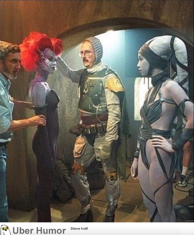 Boba Fett without a helmet during the filming of Return of the Jedi