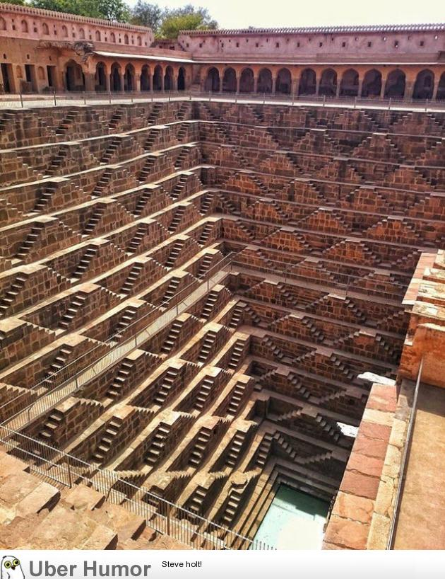 The Chand Baori is a stepwell built over a thousand years ago in Rajasthan, India.