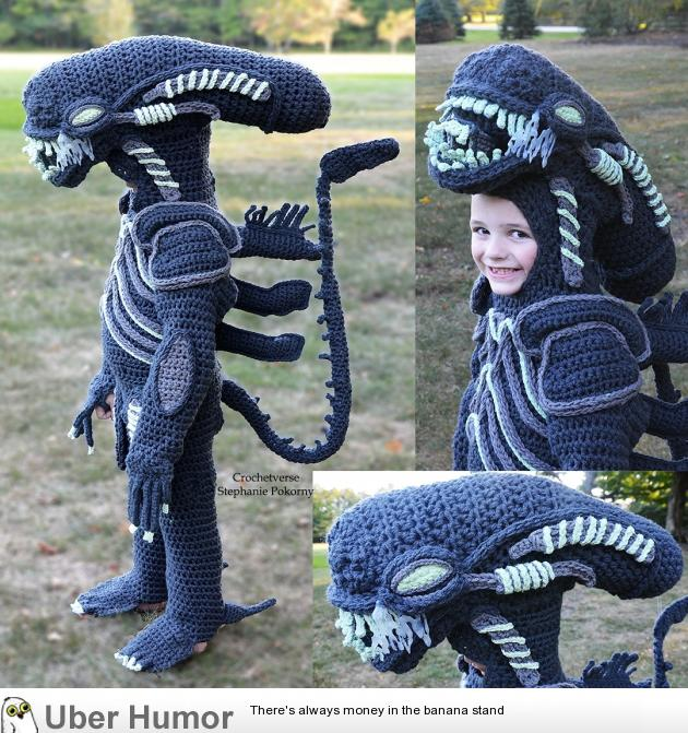 I CROCHET full body costumes for my son! Xenomorph was this year!