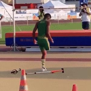 Truly motivational. One legged high jump.