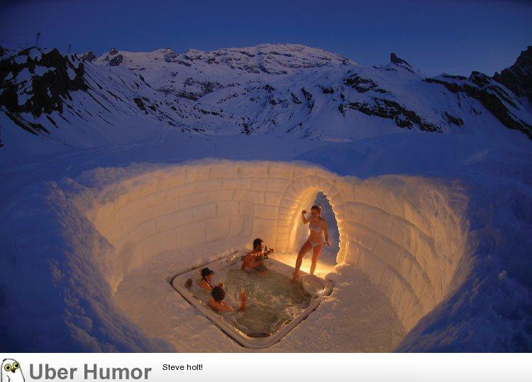 Brand-new A hot tub in an igloo on a mountain in Switzerland. I want to go  QS91