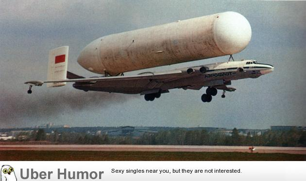A Russian Bison Bomber delivering a Buran booster tank | uberHumor.com