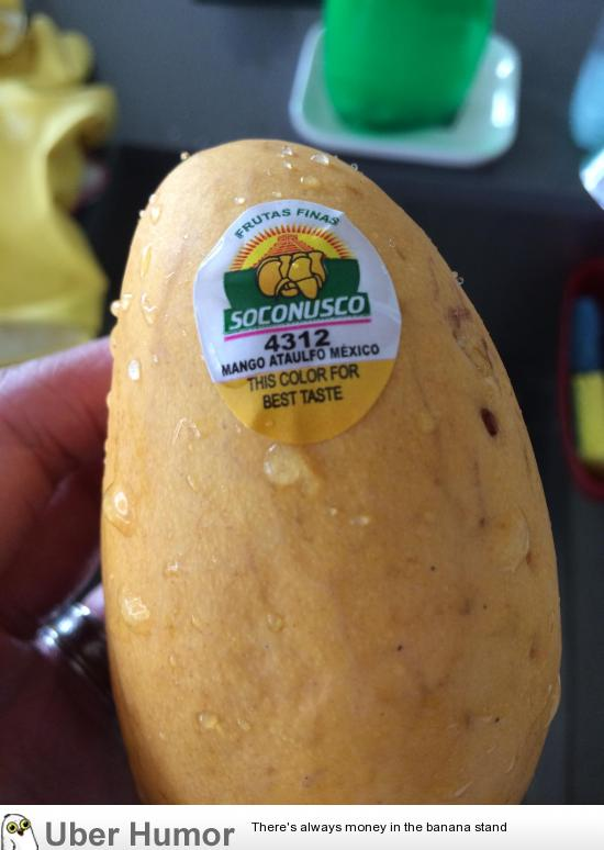 This Mango Has A Sticker Which Tells You What Colour The