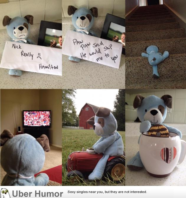 My son accidentally left his favorite stuffed animal, Hamilton, on my dad's farm. My dad had a little fun making a story out of it. | uberHumor.com