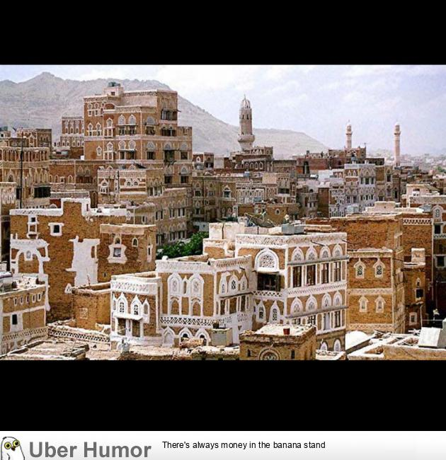 Is it just me or does this Yemen city look like a bunch of gingerbread houses?