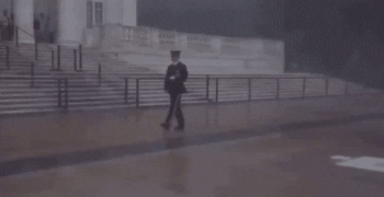 Despite severe weather and a tornado warning, this guard continued his patrol of the Tomb of the Unknown Soldier