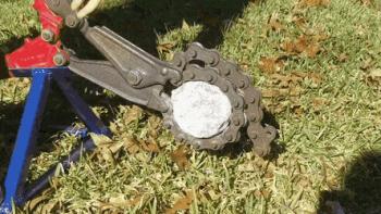 Cracking open an amethyst geode.